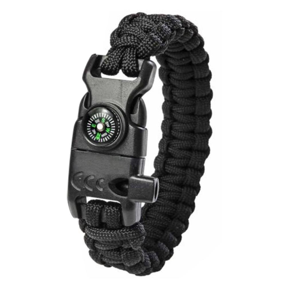 Xusun New Paracord Survival Bracelet Flint Fire Starter Compass Whistle Wrist Outdoor (Black)