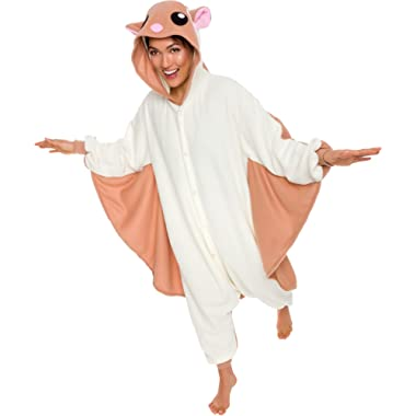 Silver Lilly Unisex Adult Pajamas - Plush One Piece Cosplay Flying Squirrel Animal Costume