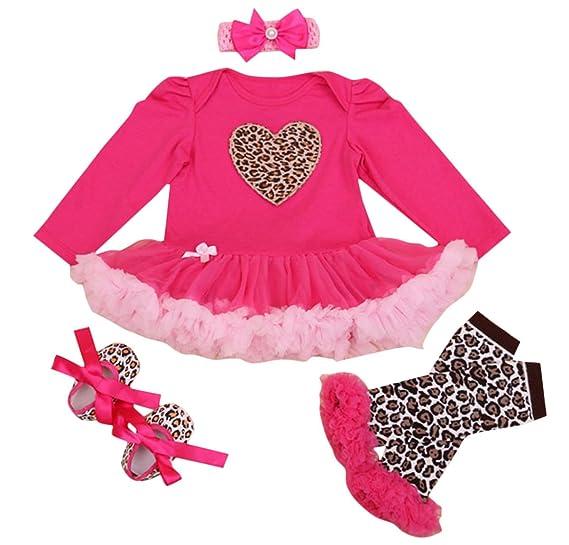 FEOYA - (conjunto de 4)Set de Tutú Falda Bebés Recién Nacidos Niñas Pijama 7297e3d7dc28