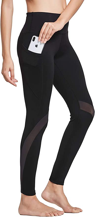 BALEAF Womens 28 Mid Waist Yoga Leggings Athletic Workout Full Length Ankle Pants