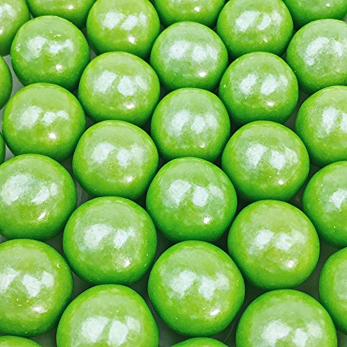 (Shimmer Lime Green Gumballs - 2 Pound Bags - Large - One Inch in Diameter - About 120 Gumballs Per Bag - Free How To Build a Candy Buffet Guide Included)
