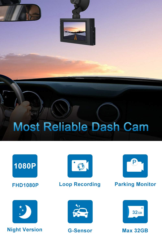 MuMn 4.0 1080P Car Dash Dual Cam, Front and Rear, LCD Full HD, 170 Degree Wide Angle Dash Camera, Car DVR, 16 9 Screen, WDR, G-Sensor, Parking Monitor, Motion Detection, Loop Recording