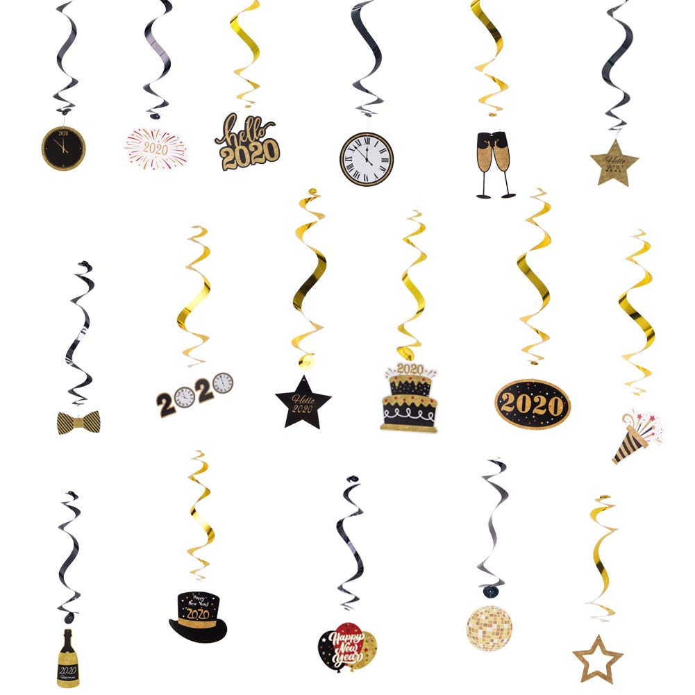 SUNBEAUTY New Year Party Decoration Hanging Swirls Glitter Happy New Year 2020 Swirls Set for New Year Eve Party Backdrop 30 Pcs