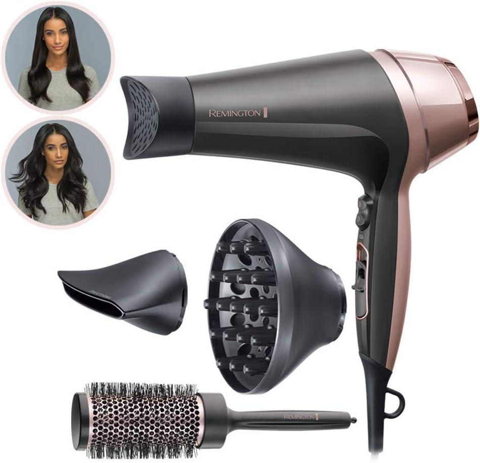 Remington Asciugacapelli Curl&Straight Confidence, 2200 Watt, Concentratore Ricurvo, 3 Temperature 2 Velocita, Generatore di Ioni, Spazzola Inclusa,