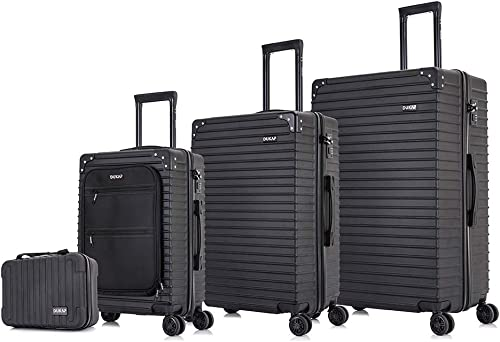 DUKAP TOUR Elegant Luggage Set Lightweight – Carry-on with USB Port – Micro Diamond Finish – Suitcases Wheels Dual Spinner 360 – Luggage Lock TSA Approved 4 Pc, Black