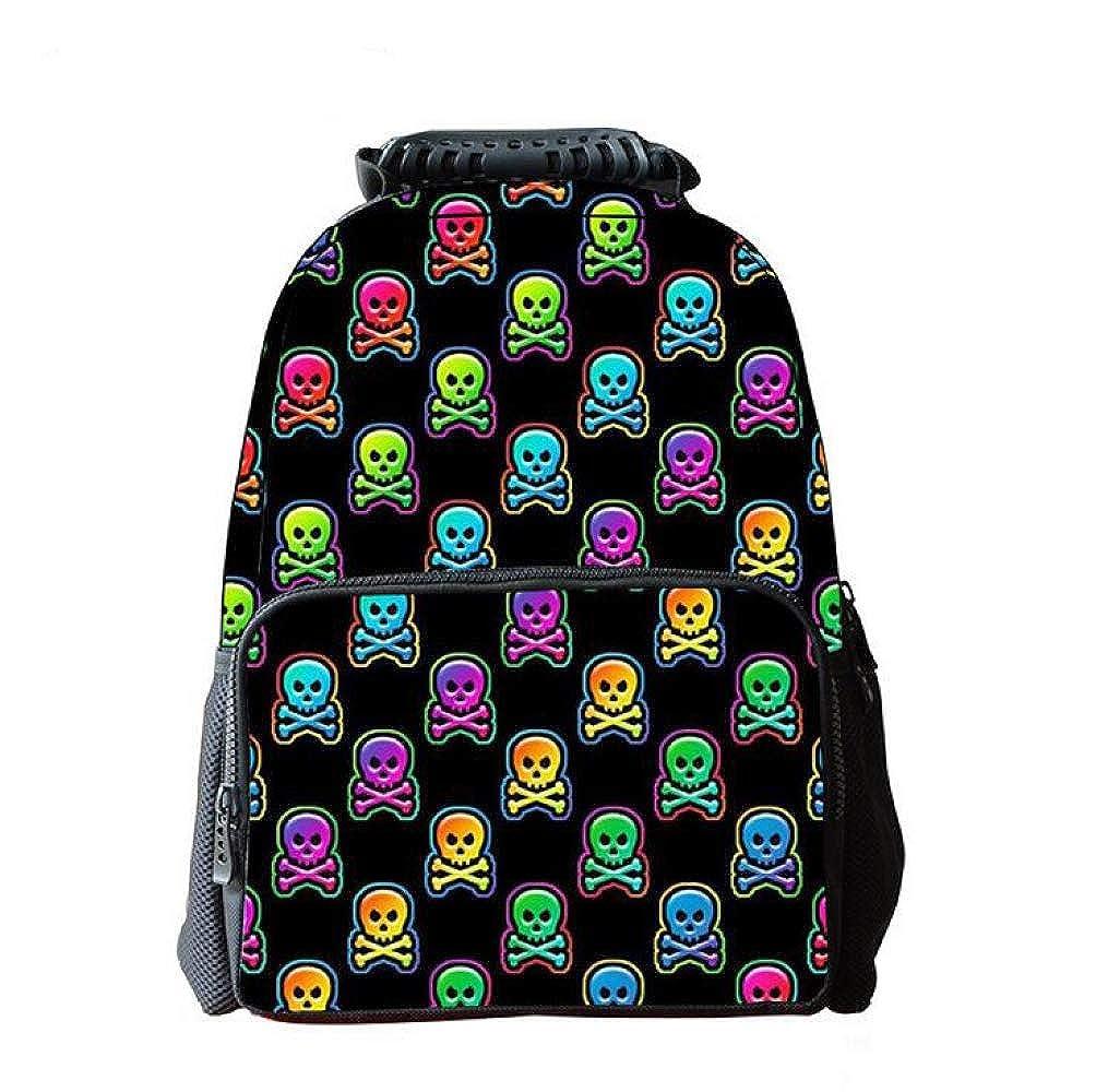 Personalisierte Schädel Schädel Schädel Muster Schulranzen Tasche, Jungen Und Mädchen Schule Und Outdoor-Aktivitäten,E-OneGröße