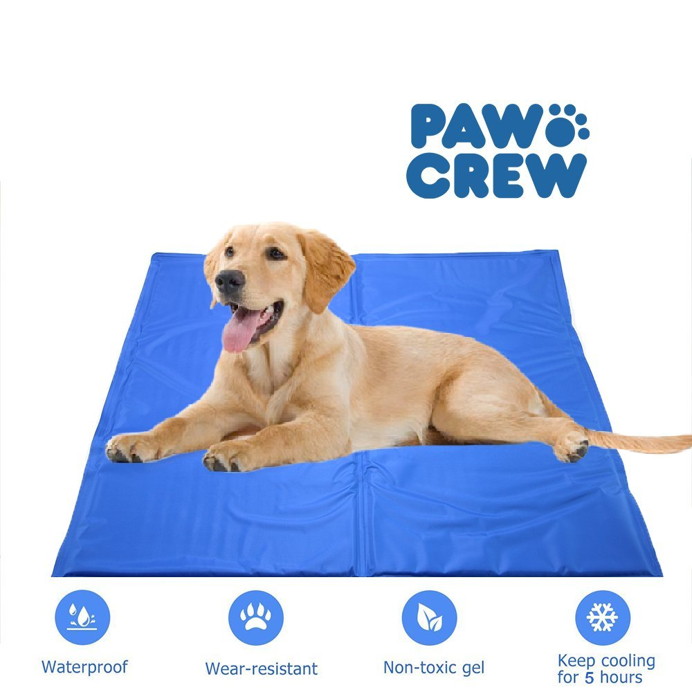 PAWCREW Comfortable Large Cooling Mat for Dogs/Cats, Self Cooling Gel Mat, Travel Indoor & Outdoor Pet Mat, Non-Toxic Dog Mat, Floor Bed Car Sofa Etc, Blue (L-XL: 24'' x 40'')