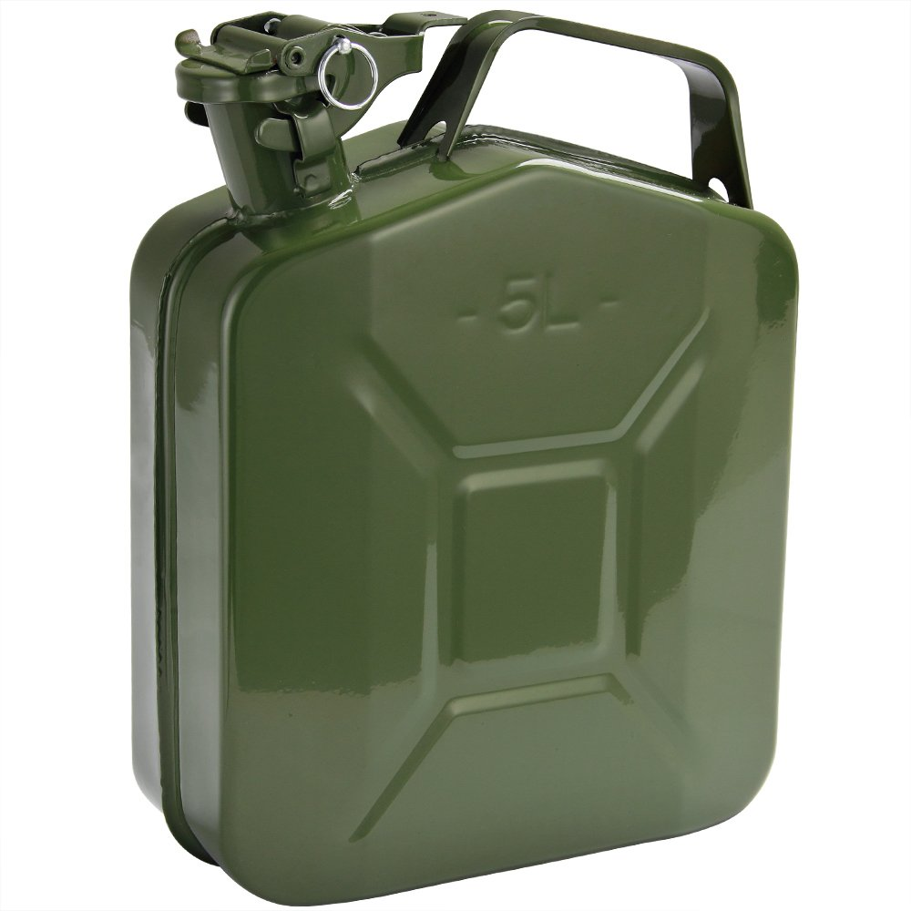 3x Metal Jerry Can - 5 Litres - Green Heavy Duty - WITH SPOUT Deuba