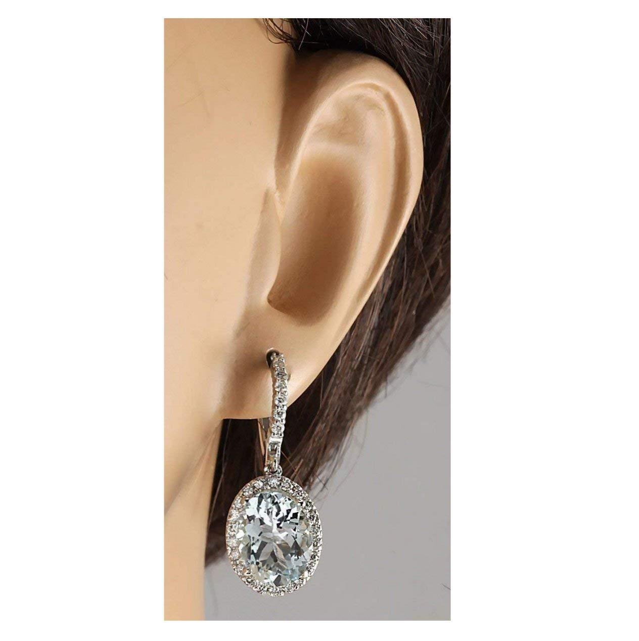 Fashion Women 925 Silver Aquamarine Gemstone Bridal Ear Stud Hoop Dangle Earrings(Style-Round) by SOSUO (Image #3)