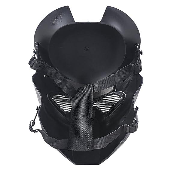 OUTGEEK Alien Vs Predator AVP Máscara de Lobo Máscara de Airsoft Cs Wargame Máscara de Cabeza Completa de Campo con Lámpara de Infrarrojos (Negro Plateado): ...