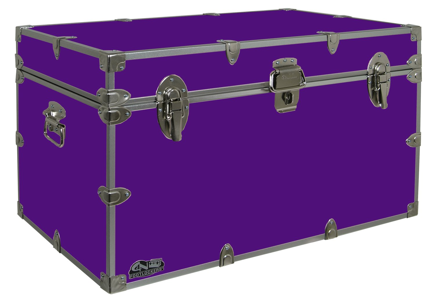 C&N Footlockers Graduate Storage Trunk - Large College Dorm Chest - Durable with Lid Stay - 32 x 18 x 18.5 Inches (Purple)