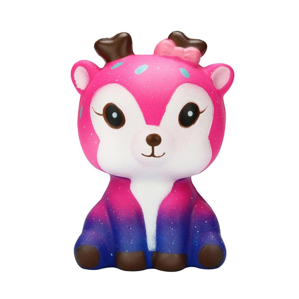 Creazy Galaxy Cute Deer 11cm Galaxy Deer Cream Scented Squishy Slow Rising Squeeze Strap Kids Toy Gift (b)