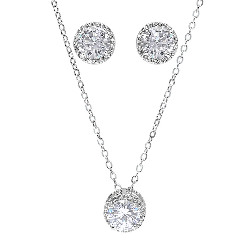 Bridesmaid Gifts - Pretty Halo Cubic Zirconia Necklace & Earrings Set (18, Rhodium Plated) Bride Dazzle BD - Set