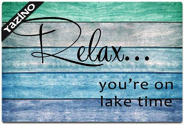 """Relax You are on Lake Time Funny Doormat Custom Home Living Decor Housewares Rugs and Mats State Indoor Gift Ideas Washable Fabric Top 23.6""""(W) X 15.7""""(L)"""