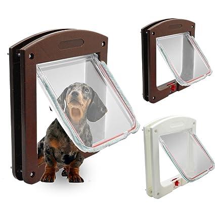 Eflio (TM) para perros gatera puertas con cerradura de 4 v¨ªas para