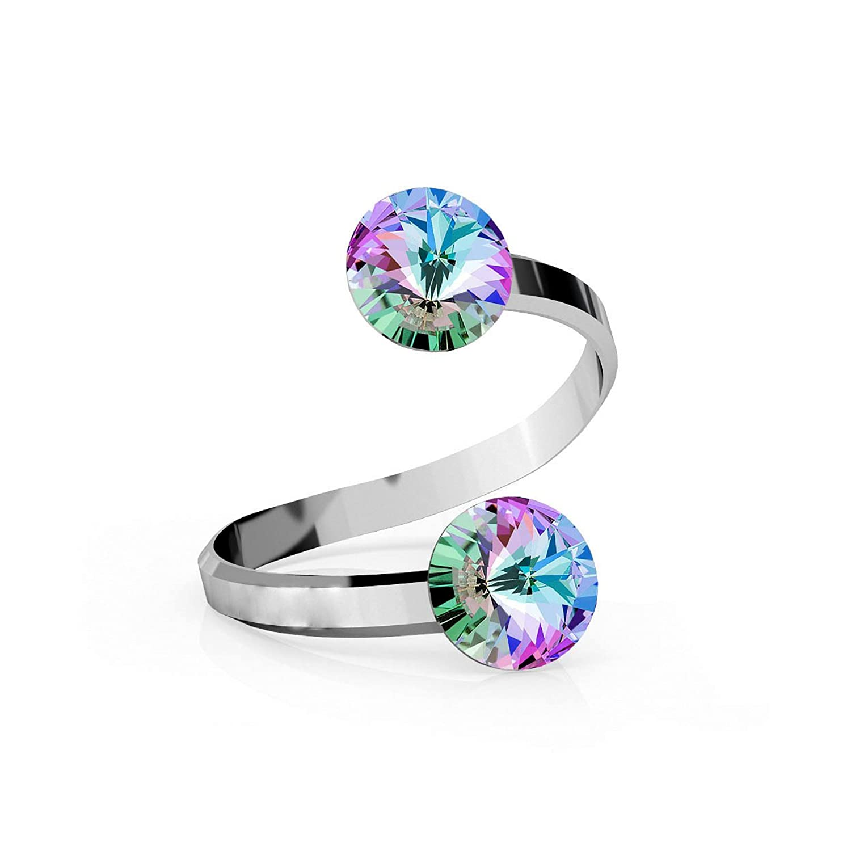 Crystals  Stones Rivoli Anillo doble de cristal ajustable plata de ley