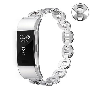 Bandmax Fitbit Charge 2 Bracelet Wrist Strap en Métal Bracelet de Remplacement Serte de Strass pour