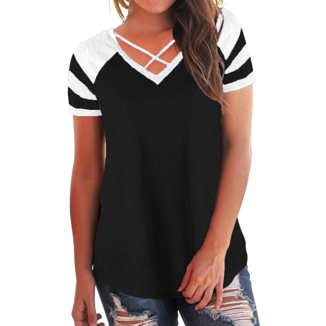 90a2dcf452f621 ✿Style:Short Sleeve,V-Neck,Patchwork,Loose style,Criss Cross Front------ womens back lace color block tunic tops long sleeve t-shirts blouses women  blouse ...