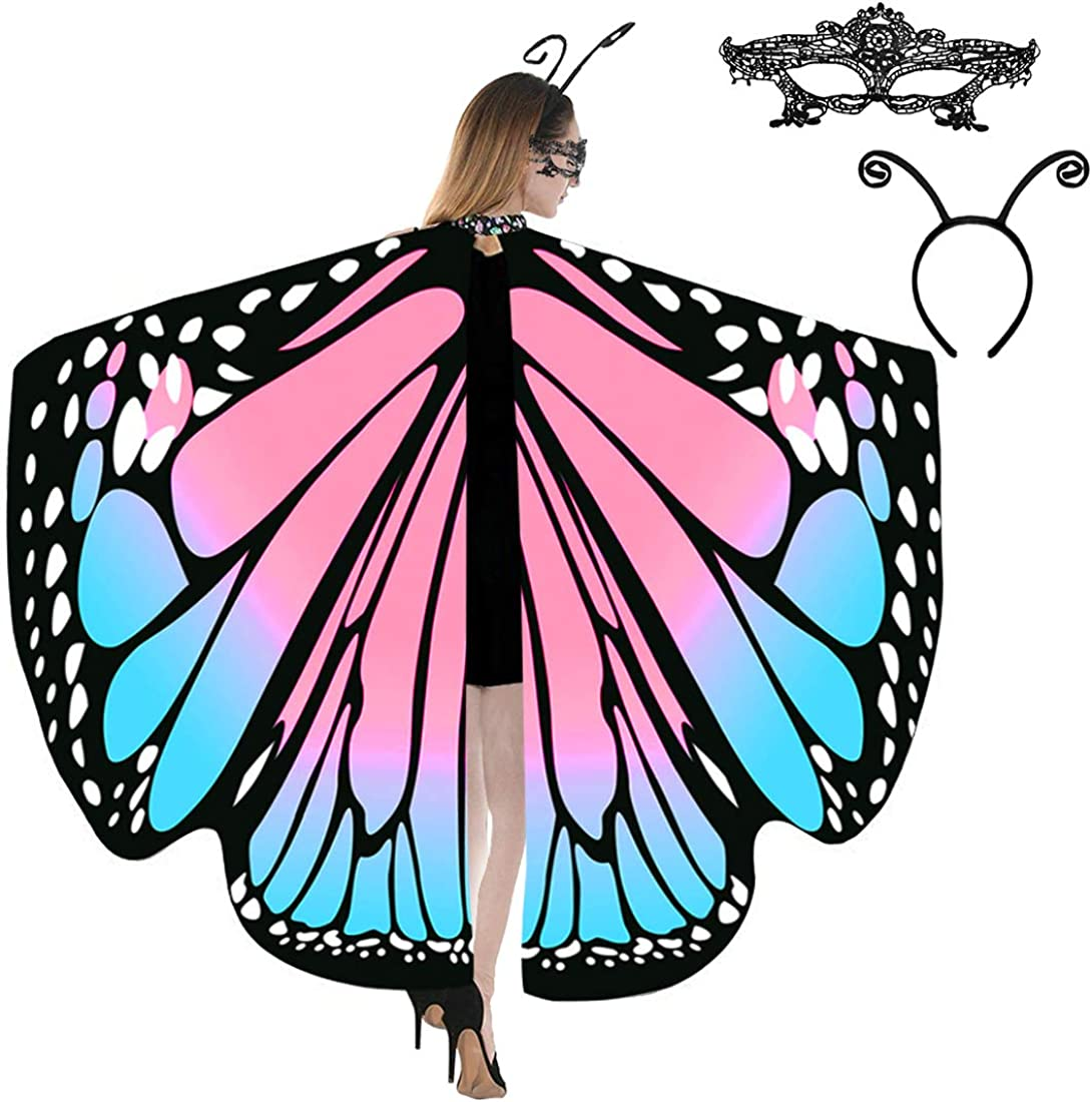 JERXUNY Holiday Costume Butterfly Wings Shawl for Women Fairy Adult Soft Butterfly Wings Ladies Cape