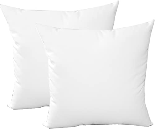 Resort Spa Home Decor Set of 2 – Indoor Outdoor 24 Square Decorative Throw Toss Pillows – Sunbrella Canvas White