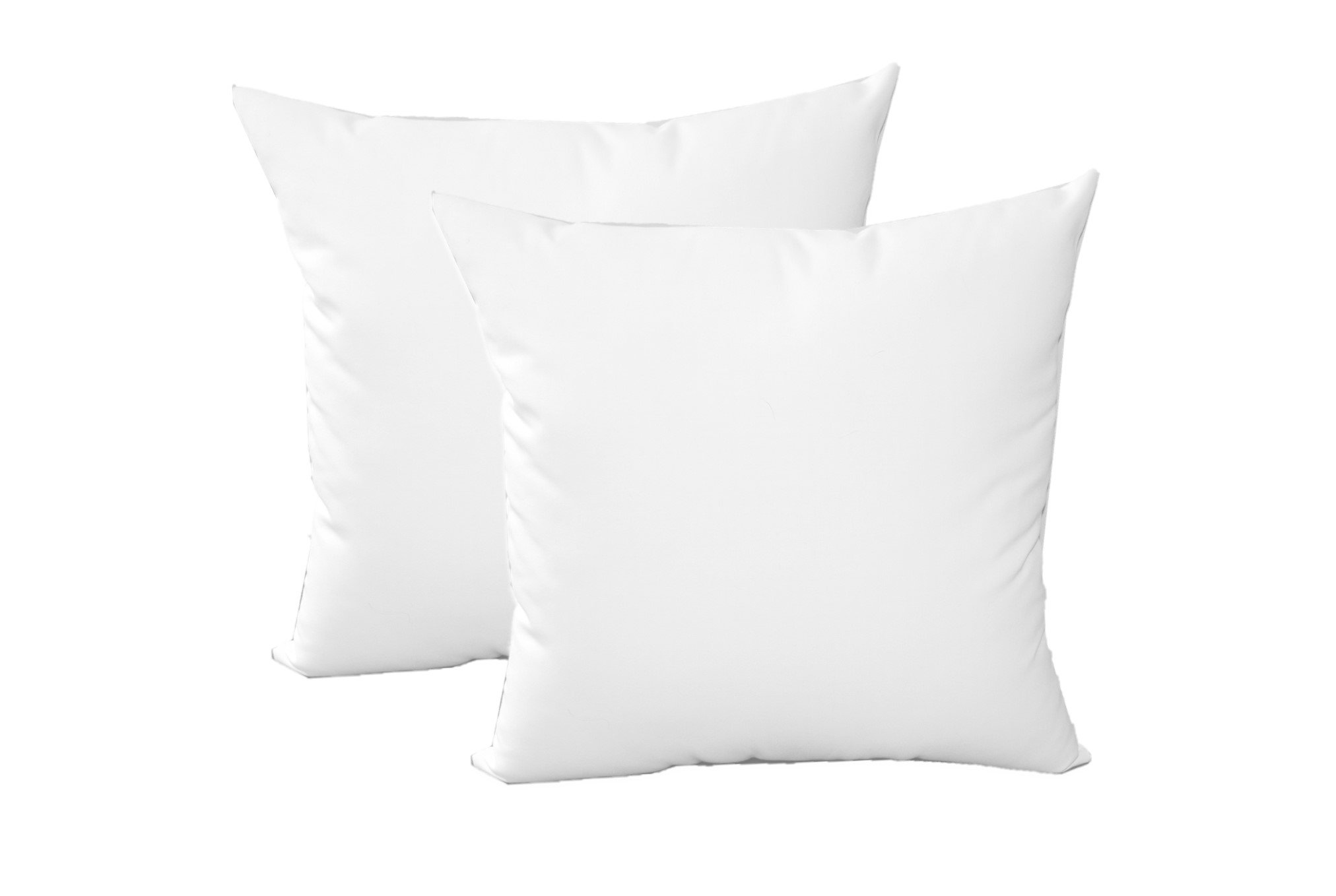 Set of 2 - Indoor / Outdoor 20'' Square Decorative Throw / Toss Pillows - Premium Sunbrella Canvas White Fabric