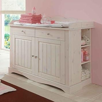 Kleiderschrank Lotta Babyzimmer Schrank Kiefer massiv weiß white wash B 120 cm