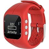 Malloom Reemplazo Suave goma silicona reloj correa banda muñeca para polar A300 fitness Watch (Rojo)