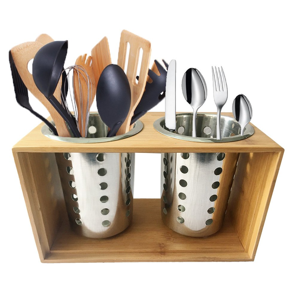 Stainless Steel Utensil Holder Kitchen Cooking Utensil Holders With Wooden Holder Stand︳ Cutlery Holder Caddy ︳Organise your Flatware & Silverware︳Ideal for Kitchen, Dining, Entertaining, Picnic