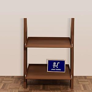 Amaze Shoppee Bookcase Ladder Shelf & Room Organizer Storage Divider Wood Furniture- Brown