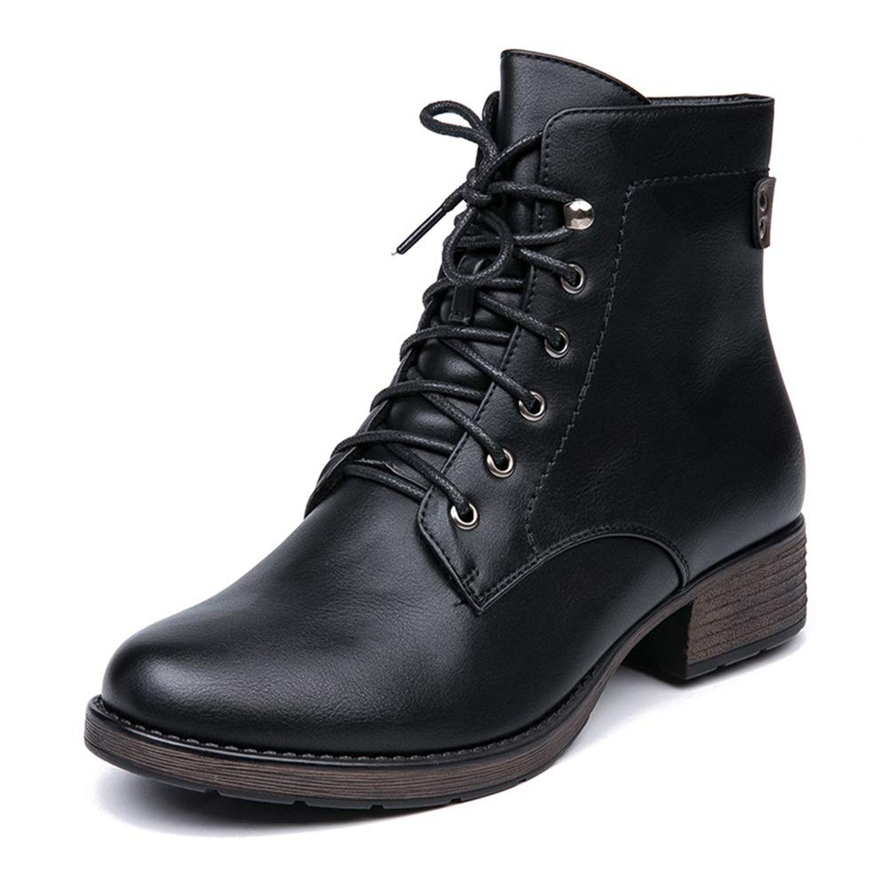 Frauen Stiefelies PU Leder Stiefel Frauen Herbst Und Winter Plus Samt Warme Martin Stiefel 3 5 cm Absatz (Größe 36-41) (Farbe   Schwarz Größe   36)