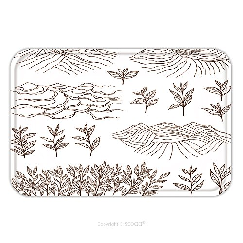 Flannel Microfiber Non-slip Rubber Backing Soft Absorbent Doormat Mat Rug Carpet Tea Plantations And Plants Bush Leaves Garden On The Hill Hand Drawn Vector Illustration 389757166 for Indoor/Outdoor/B