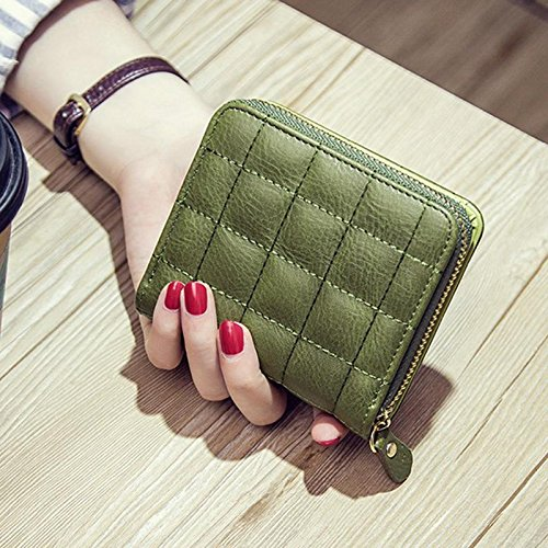 JD Million shop Women Short Wallets PU Leather Female Plaid Purses Clutch Card Holder Wallet Fashion Woman Small Zipper Wallet With Coin - Card Cash To Egift