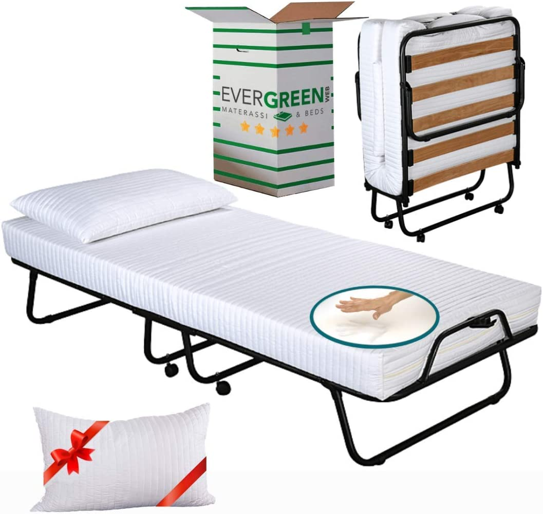 Evergreenweb – Cama Plegable con colchón Individual viscoelástico 80 X 190 y viscoelástico Gratis, somier de láminas de Madera de Emergencia extraíble ...