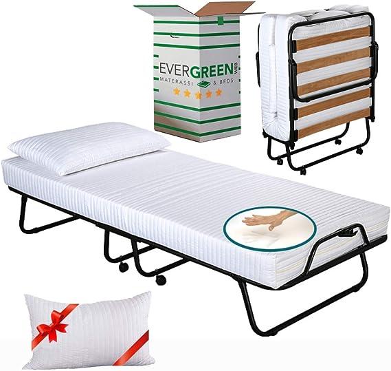 EvergreenWeb - Kit Somier Plegable y Colchón Individual 80 x 190 en Espuma Viscoelástica de 12 cm de Altura + Almohada Viscoelástica Gratuita, ...