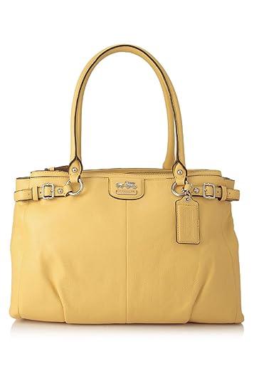 Coach Leather Madison Kara Carryall Satchel Handbag 22262 Canary Yellow