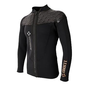 3mm Mens Black Long Sleeve Surf Diving Swim Suit Full Zipper Wetsuit Jacket Tops