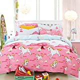 H&C 100% Cotton 600T 4-Piece Duvet Cover Set Full Size Queen Size White Horses Pattern Pink Background Cartoon Style For Girl