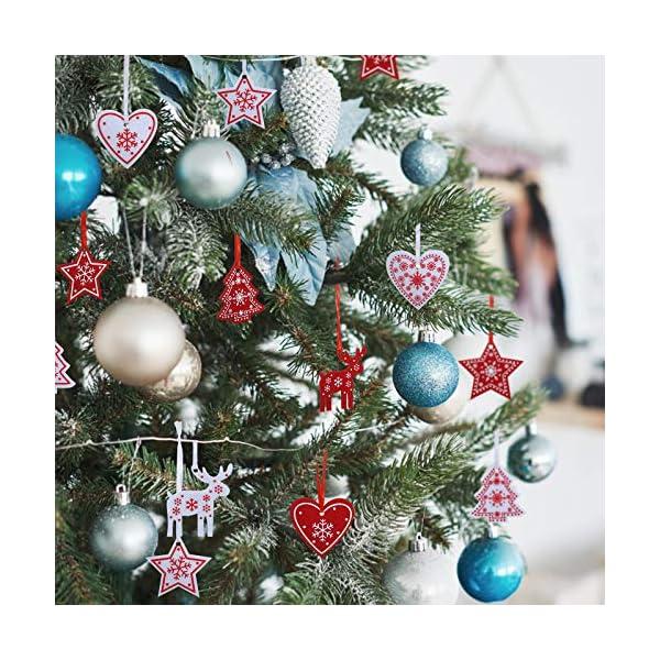 Naler 42 Pezzi di Decorazioni Natalizi in Feltro Ornamenti Appesi di Albero di Natale, Stella, Renna, Cuore Decorazione Natalizia per Casa, Bianco e Rosso 3 spesavip