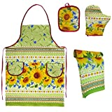SAV Embroidered Ukrainian Print Kitchen Dish Towels Set Vintage Design Decor Easter Pack Super Absorbent 100% Natural Cotton Waffle Wave (Size: 29 x 14 inches) (Value Pack Gift Set, Sunflowers)