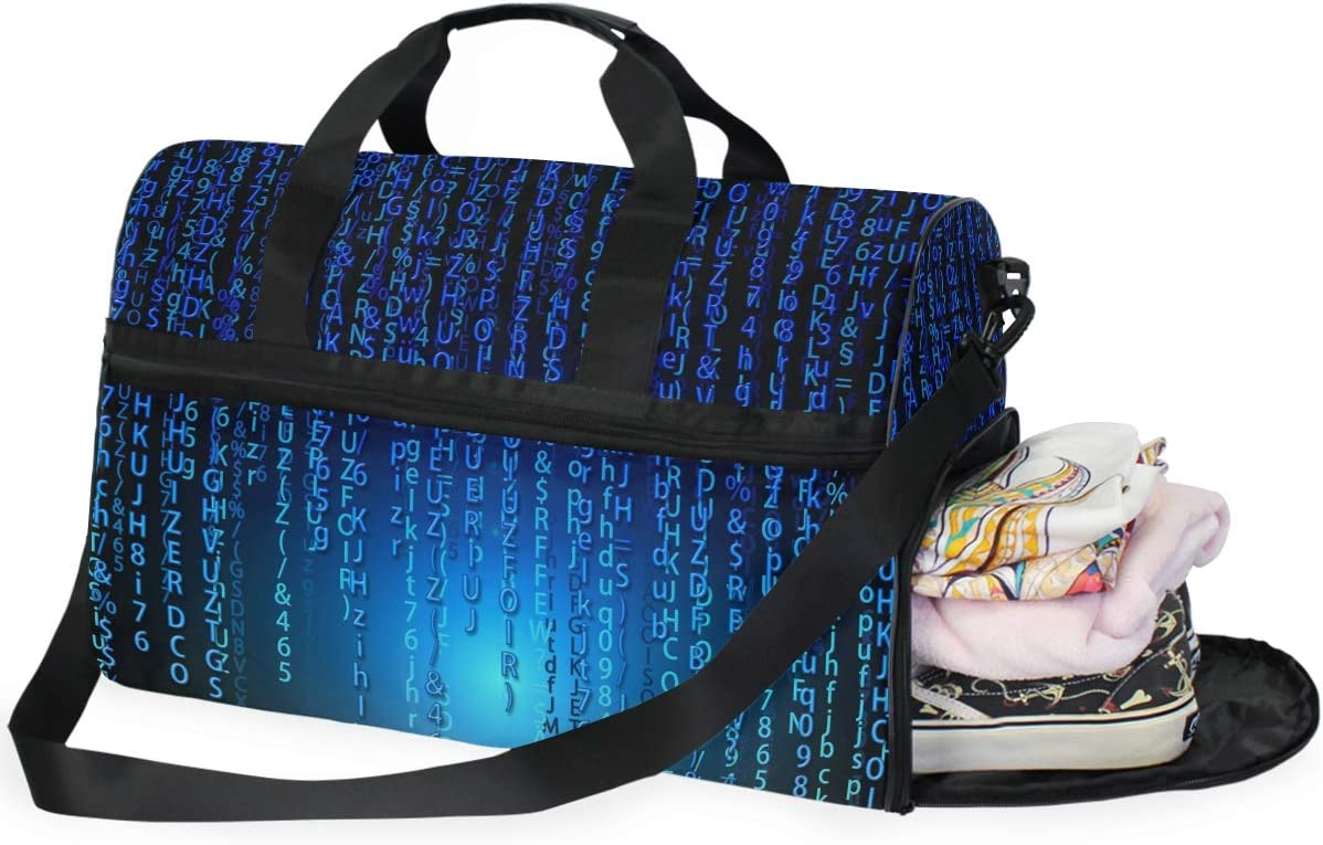 MUOOUM Matrix Scientific Numbers Blue Large Duffle Bags Sports Gym Bag with Shoes Compartment for Men and Women