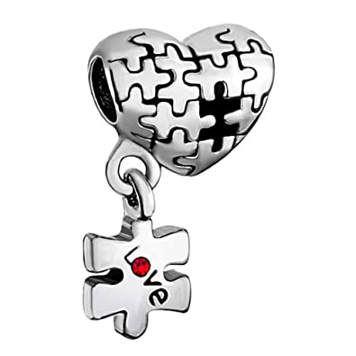 Sug Jasmin Autism Awareness Charm Puzzle Heart Love Beads For Charm Bracelets EUgkaIoP