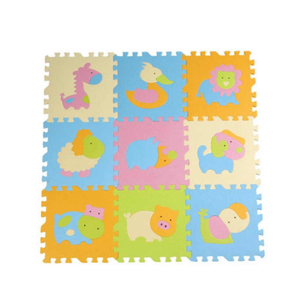 NUOLUX Animal Play Mats Floor Puzzle Crawling Play Game Mat for Baby Kids Children Toddlers (Light Color 02)