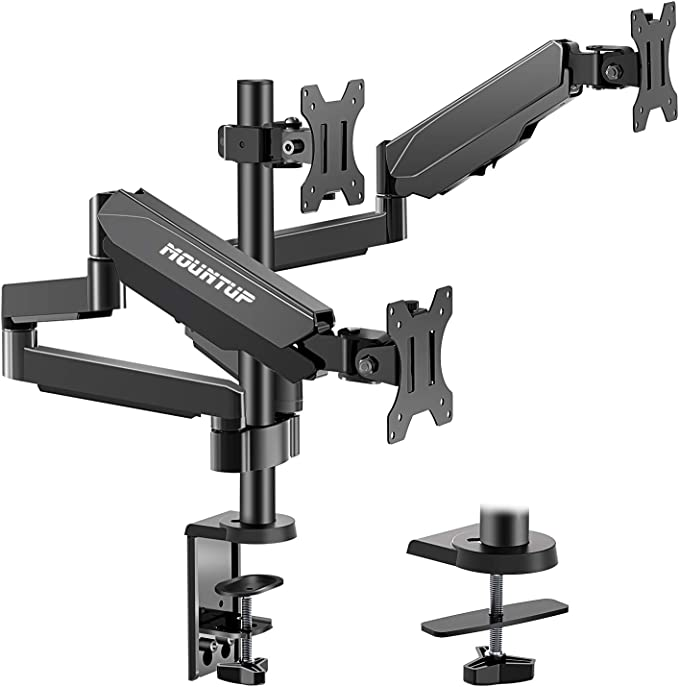 Amazon.com: MOUNTUP Triple Monitor Stand Mount - 3 Monitor Desk Mount for Computer Screens Up to 27 inch, Triple Monitor Arm with Gas Spring, Heavy Duty Monitor Stand, Each Arm Holds Up to 17.6 lbs, MU0006: Computers & Accessories