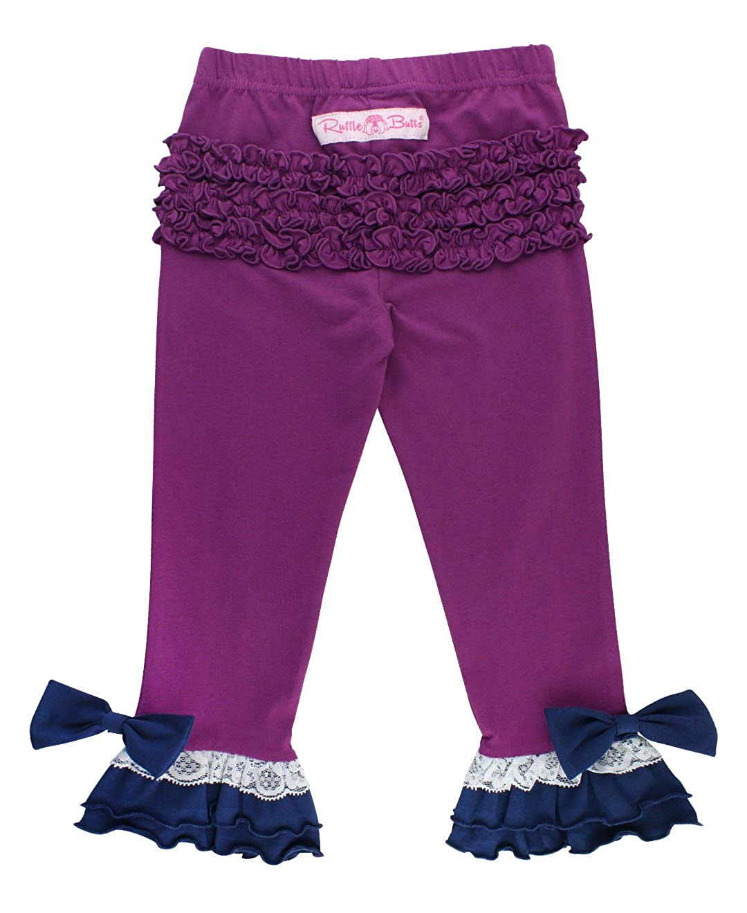 RuffleButts Girls Contrast Knit Ruffle Pants w//Lace Purple 7