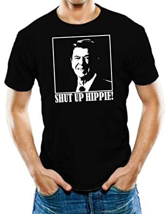 d1c8d06ab7744 Amazon.com  Universal Apparel Men s Shut Up Hippie Ronald Reagan T-Shirt   Clothing