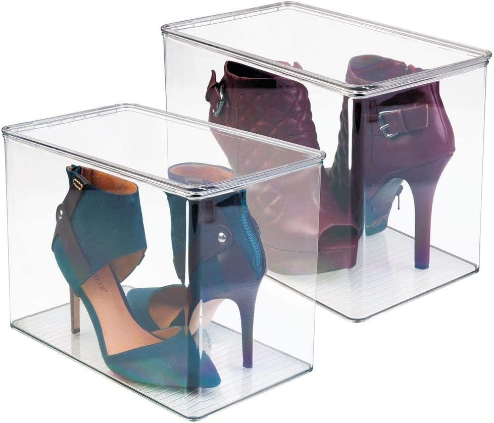 High Heel Storage Container for Pumps and Boots Set of 2 Boot and Shoe Organiser Perfect for High Heel Footwear Clear mDesign Shoe Storage Box