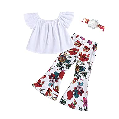 5de56dcb54 Amazon.com: Alione Cute Baby Girls Off Shoulder Crop Tops T Shirt and Rose  Flower Pants Bell Bottoms Leggings Outfits Clothes: Clothing