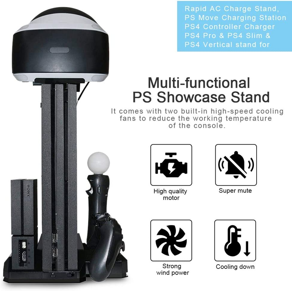 Shentesel Showcase Heat Dissipation Base Stand Rapid Charge Station for PS4 PS VR Move Black