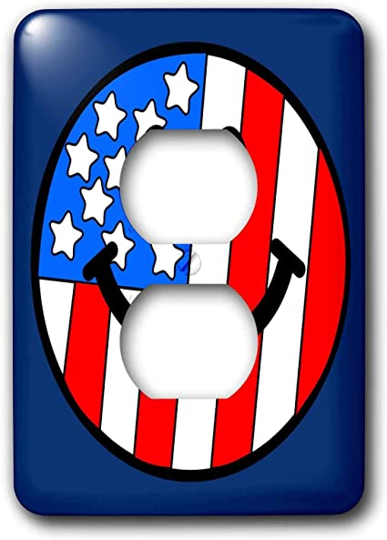 Duplex Outlet Wall Plate Cover American Flag Smiley Face Patriotic Usa 4th Of July Independence Day Happy Smilie On Navy Blue 2 Plug Outlet Cover 1 Gang Standard Size