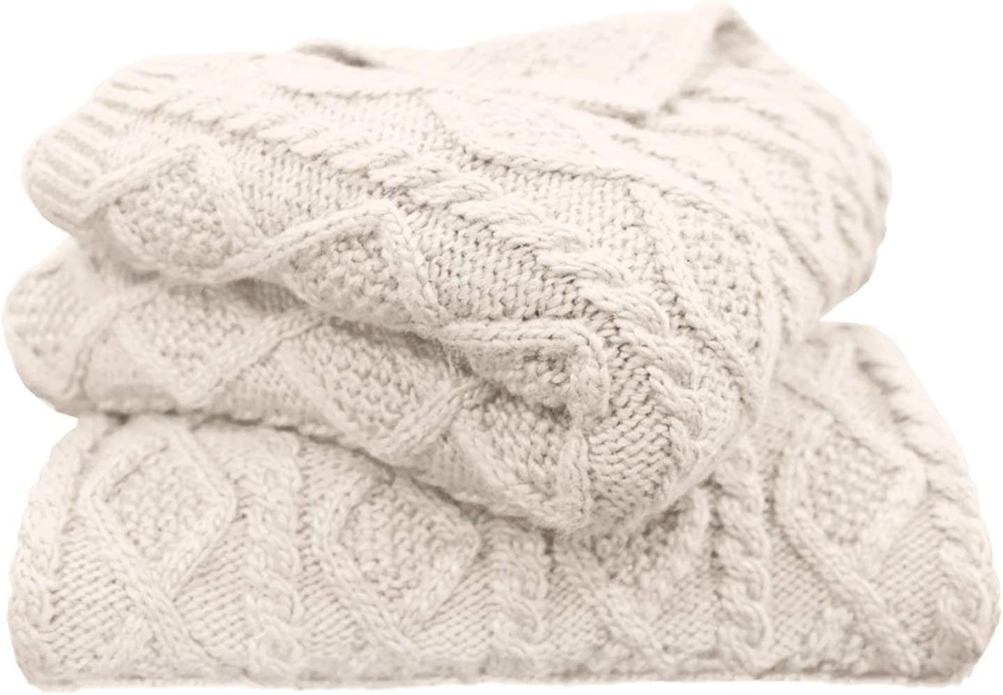 HiEnd Accents Cable Knit Soft Wool Diamond Throw Blanket, 50